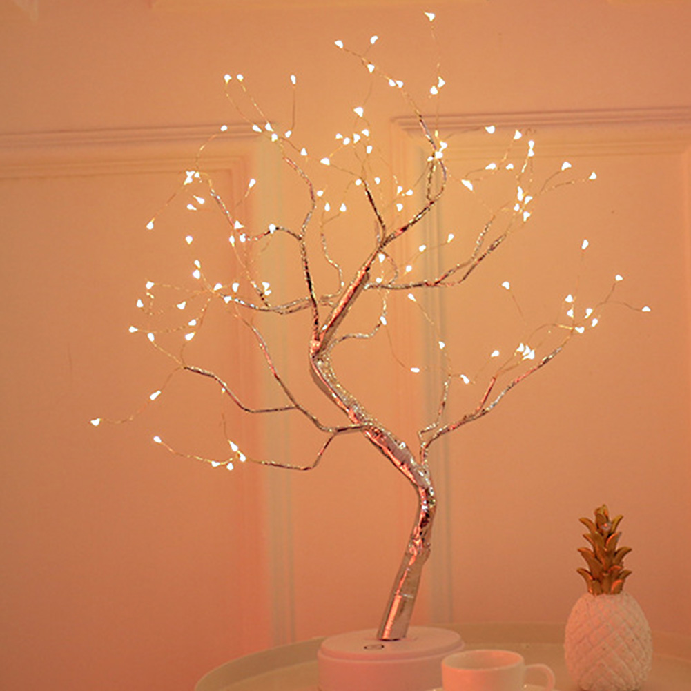 36leds 108leds Led Light DIY Bonsai Style Copper Wire Holiday USB Charging Night Light Firework Touch Switch Control Tree Shape