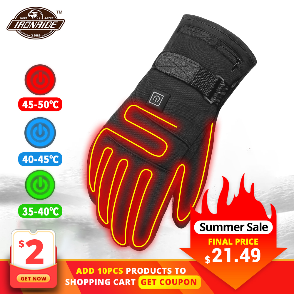 HEROBIKER Motorcycle Gloves Waterproof Heated Guantes Moto Touch Screen Battery Powered Motorbike Racing Riding Gloves Winter##