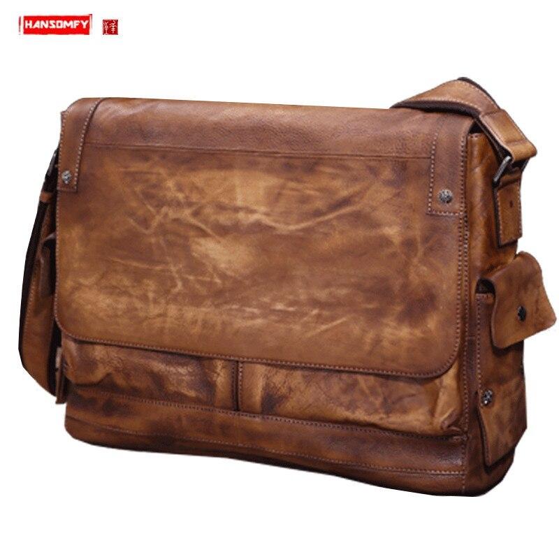 Business Genuine Leather Laptop Bag Men's Briefcase Men Shoulder Bag Retro Messenger Bags Vegetable Tanned Cowhide 2020 New Male