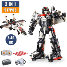 Remote Building Blocks Technic 2.4 G RC 2 In 1 Robot Airplane Constructor Bricks Technology Creator Blocks Build Toy Kids Gifts city series weapon technic blocks 611pcs diy bricks rc robot building blocks compatible remote control robot block toy for kids