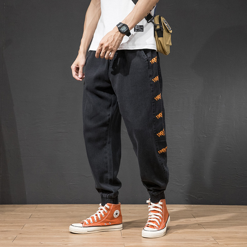 Fashion Streetwear Men Jeans Loose Fit Printed Designer Harem Trousers Cargo Pants Green Color Hip Hop Jeans Men Joggers Pants