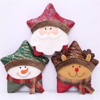 ハッピーニューイヤーギフトクリスマスヘラジカ枕クリスマスの装飾ホームスター形状カーのホームインテリアベッド装飾枕 -