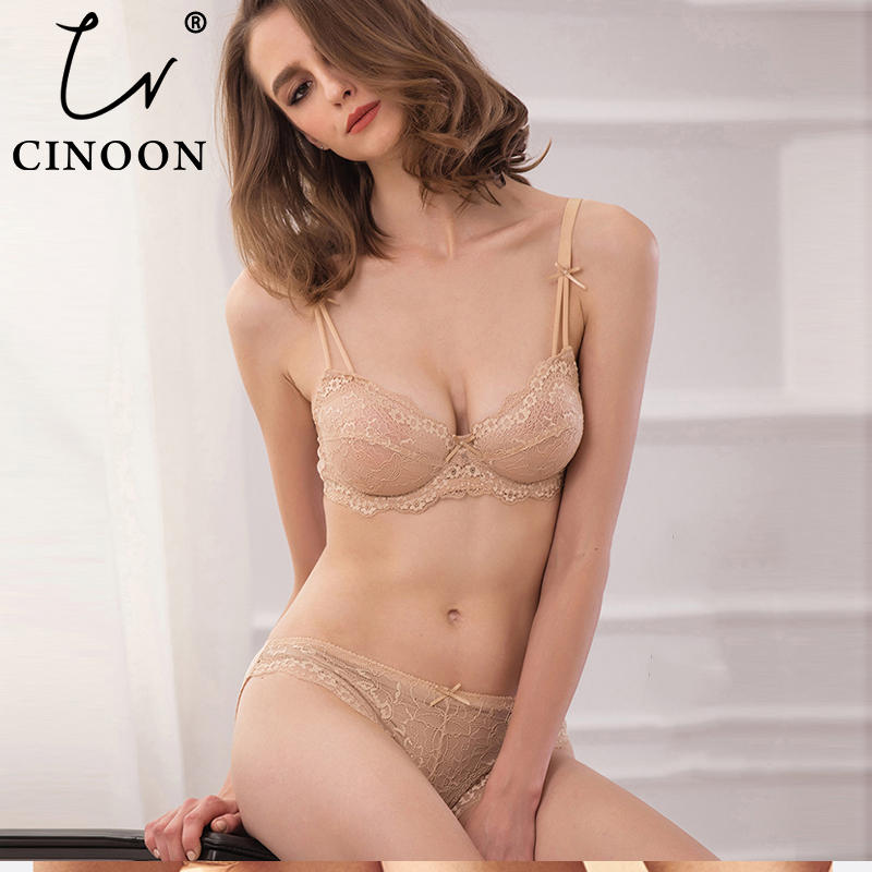CINOON Women's sexy vs   bra     set   lace underwear adjustable thin cup lingerie   set   plus size womens   bras   and underwear   sets