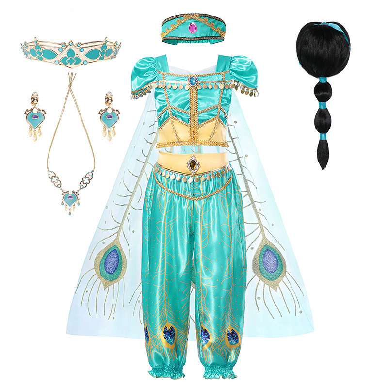 Princess Jasmine Clothing Set For Girl Top Pants Headband Tulle Cape Kid Aladdin Cosplay Party Dress Up Belly Dance Clothes Set