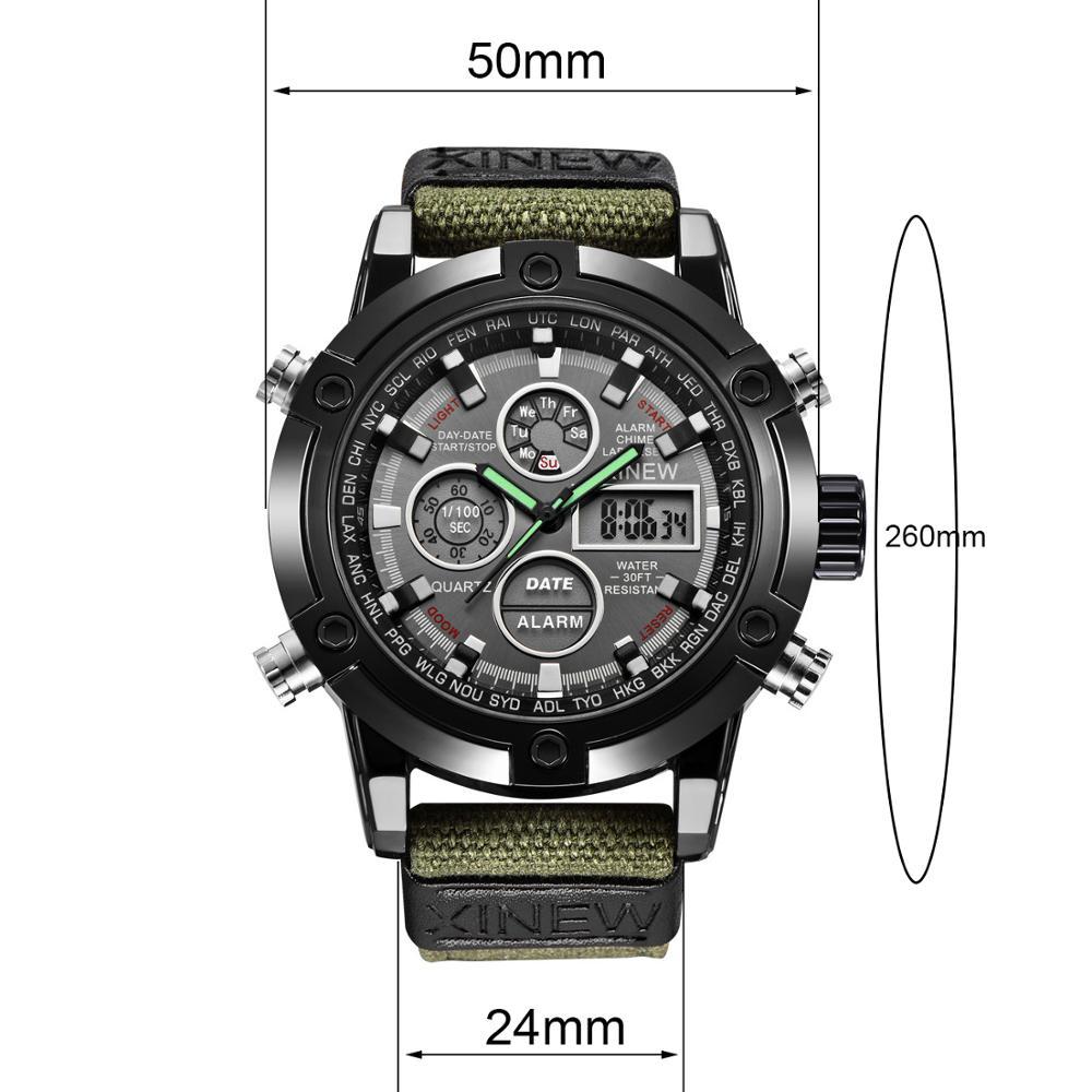 Fashion Big Dial Military Watch Men Nylon Waterproof Outdoor Sport Quartz Digital Watch Army Male Clock Relogio Masculino 3
