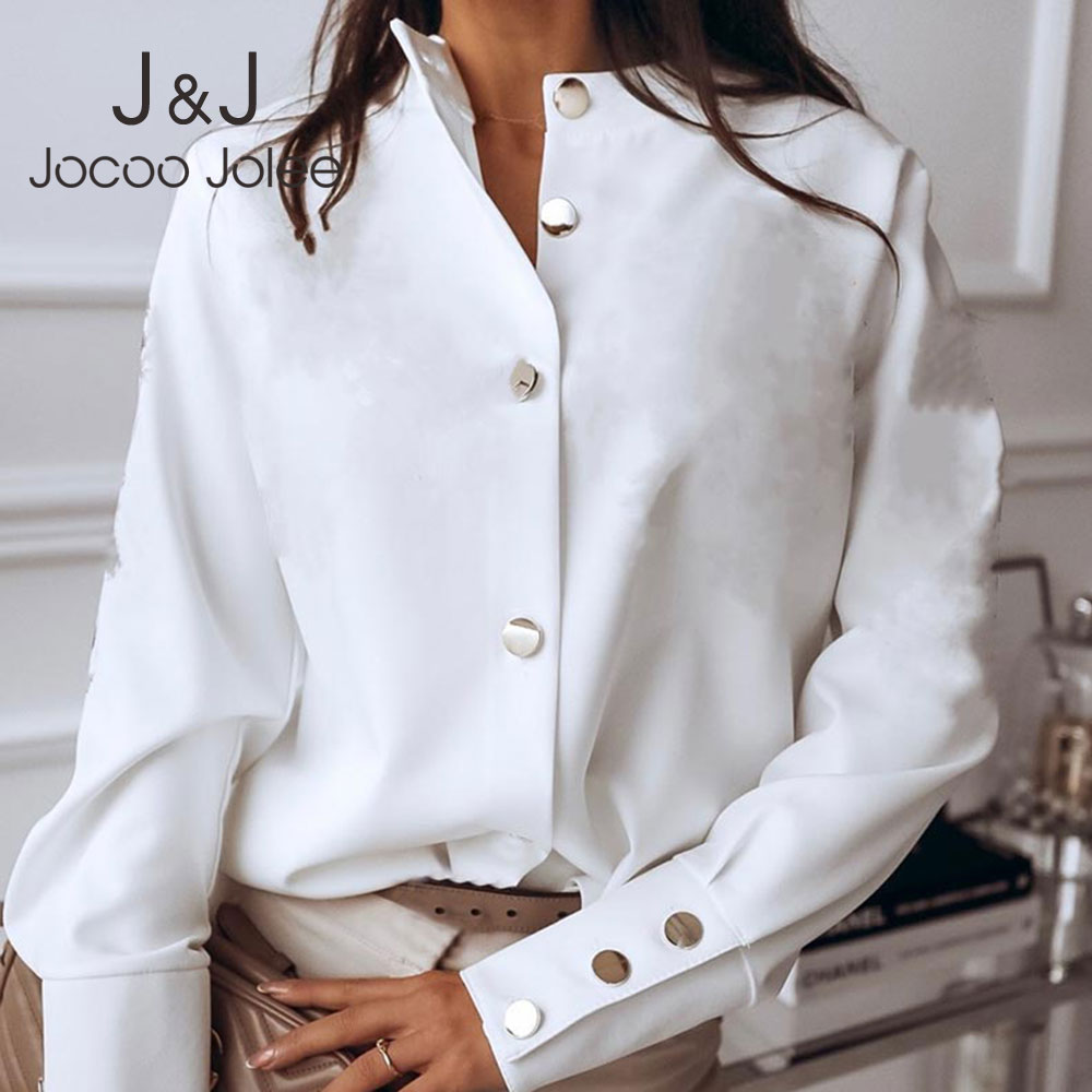 Jocoo Jolee Vintage Solid Blouse Casual Long Sleeve Button Shirt Plus Size Harajuku Tops Office Lady Tunic Women's Clothing