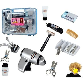 1 Juego de herramientas de corte de pelo para niños, juego de simulación de peluquería con peluca, caja azul rosa al azar