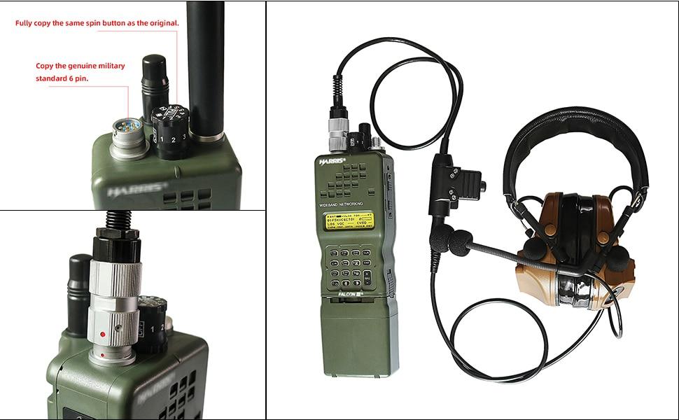 Купить с кэшбэком TAC-SKY AN / PRC152 152A military radio walkie-talkie model Harris virtual case dummy + tactical headset PTT 6 pin U94 PTT