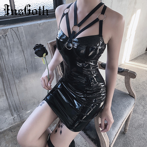 InsGoth Sexy Leather Bodycon Mini Dress Women Gothic Bandage Halter Hollow Out Black Female Party Dress Vintage PU Leather Dress