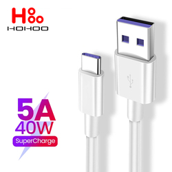 5A USB Type c Cable For Huawei mate 40 P40 p30 pro Honor Xiaomi Fast Charging Cable 2M For Samsung galaxy A50s A20s Type-c Cable