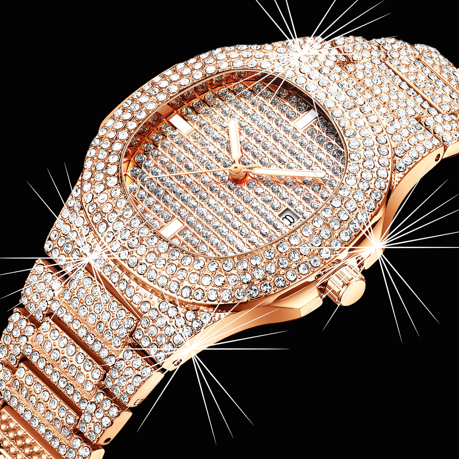 Diamond Watch For Women Luxury Brand Ladies Gold Square Watch Minimalist Analog Quartz Movt Unique Female Iced Out Watch