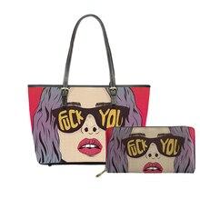 NOISYDESIGNS 2019 Women Fashion Shoulder Bags Set 2PCS Large Capacity Purse Pop Arts Prints Girls Handbag Bolsa Feminina Mujer