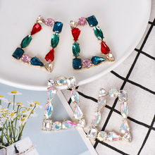 Wholesale Big Geometric Crystal Hollow Out Drop Earrings Women Hanging Shiny Rhinestones Statement Earrings for Women Jewelry цена 2017