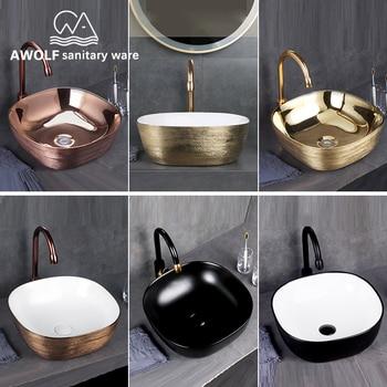 Art Bathroom Ceramic Vessel Sinks Brushed Rose Gold Washing Basin Bowl Golden Matte Black White Luxury Basin Sink AM909 jingde ceramic bathroom wash basin art basin ellipse gold purple