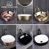 Art Bathroom Ceramic Vessel Sinks Brushed Rose Gold Washing Basin Bowl Golden Matte Black White Luxury Basin Sink AM909