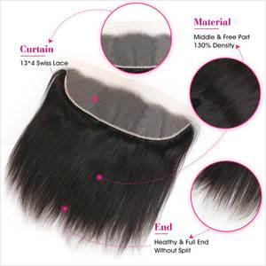 Image 4 - Ali graça feixes de cabelo em linha reta com frontal 13x4 médio marrom rendas brasileiro feixes cabelo humano com frontal frete grátis