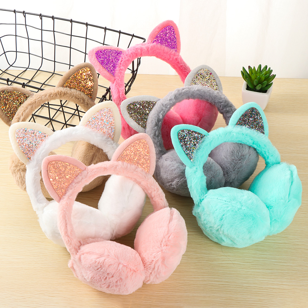 1PC NEW Winter Warm Earmuffs Girls Cute Cat Ears Sequin Ear Warmers Fluffy Outdoor Earflap Fashion Women Outfit Accessories