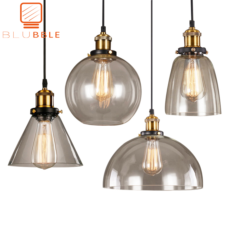 Loft Vintage Pendant Lights Glass Pendant Lamps Industrial Hang Lamp Smoky Grey Lamparas De Techo Colgante Modern Lustre Pendent