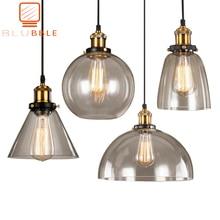 Luces colgantes Vintage De Loft lámparas colgantes De cristal lámpara Colgante Industrial Lamparas grises ahumadas De Techo Colgante moderno Lustre Colgante