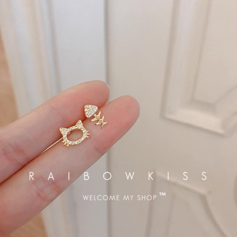 Korean Small Cute Cat Fish Bones Stud Earrings Zircon Asymmetrical For Women Earrings