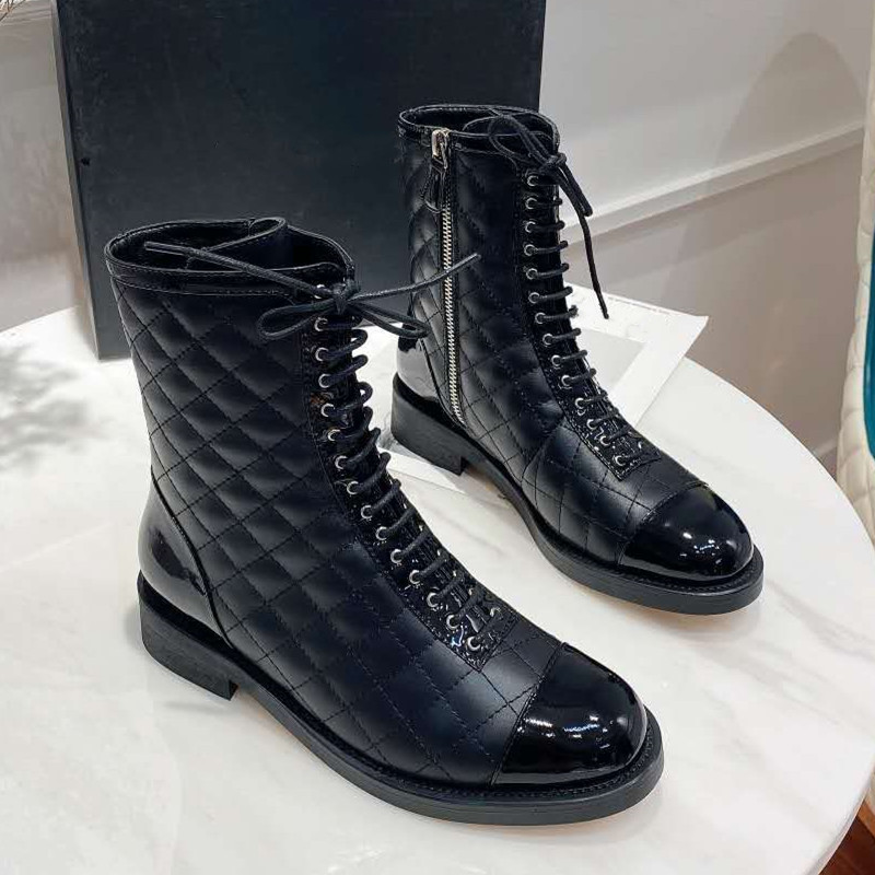 Prova perfetto 2020 inverno moda feminina botas de salto baixo elegante mulher botas de couro genuíno mulher botas de cor sólida preto botas