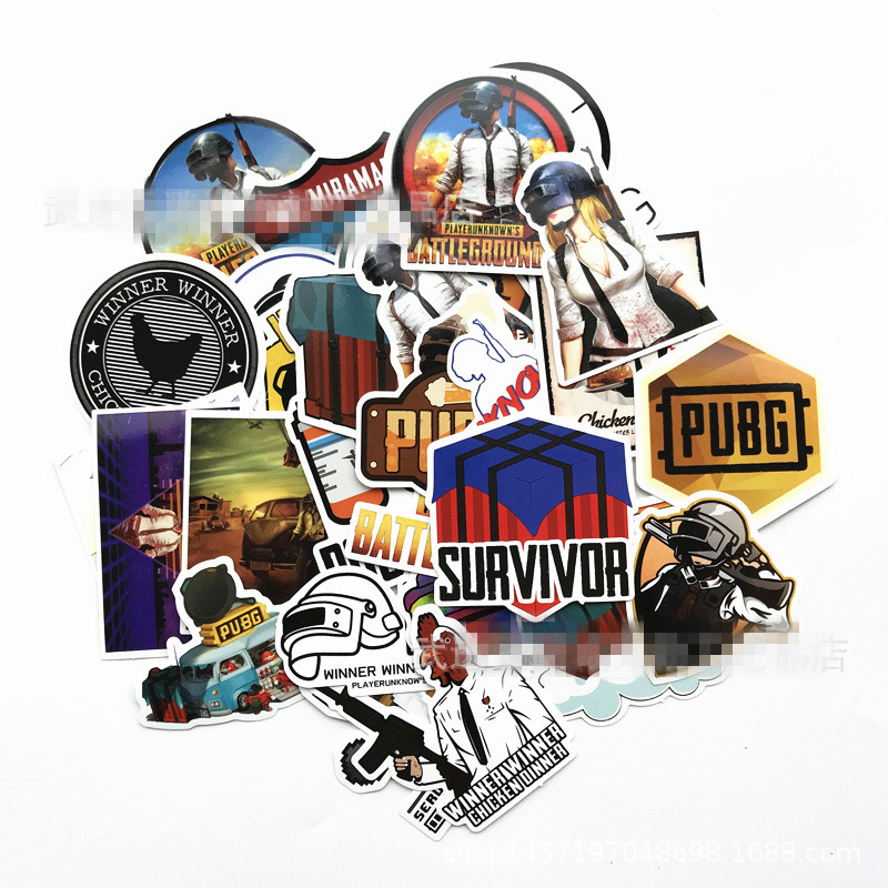 Image 2 - 29pcs Mixed funny stickers for kids Home decor waterproof laptop sticker PUBG Game Poster Winner Winner Chicken Dinner sticker-in Stickers from Toys & Hobbies