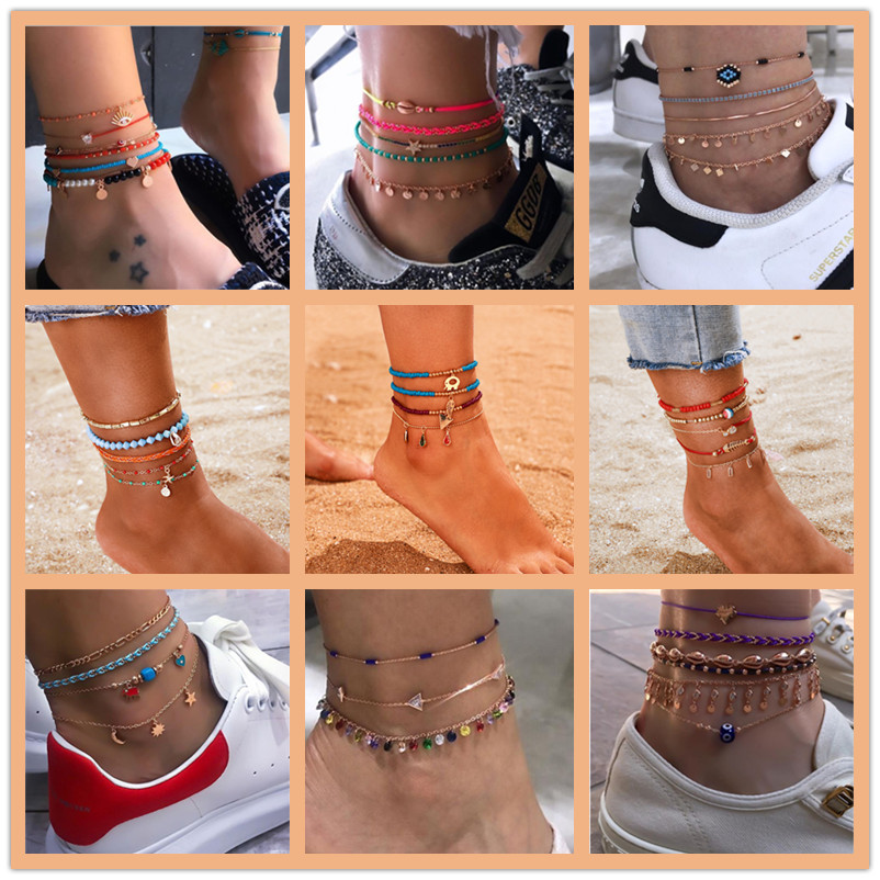 2020 New Bohemian Handmade Anklet Bracelets Beach Party Ocean Jewelry Vintage Anklets Sets For Women Gift