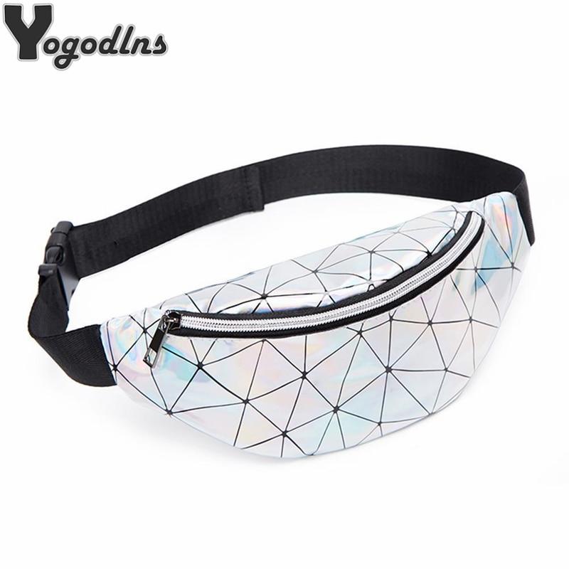 Laser Geometric Plaid Women Belt Bags 2019 New Reflective Holographic Lattice Waist Bags For Girls Purse Pack 5 Colors