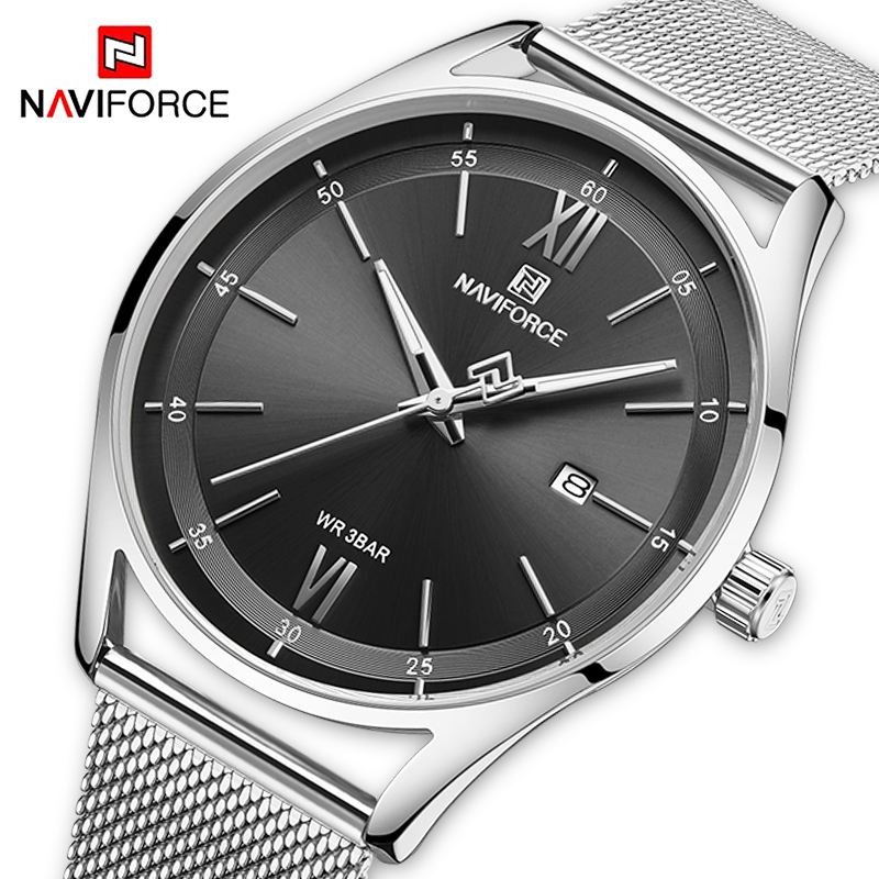NAVIFORCE Casual Couple Watches Luxury Lovers Wristwatch Men And Women Mesh Steel Waterproof Quartz Clock Male Relogio Masculino
