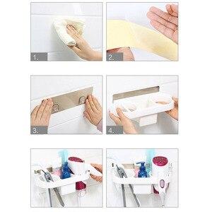 Image 5 - Multifonction salle de bain stockage sèche cheveux support douche organisateur auto adhésif mural en plastique étagère shampooing lisseur