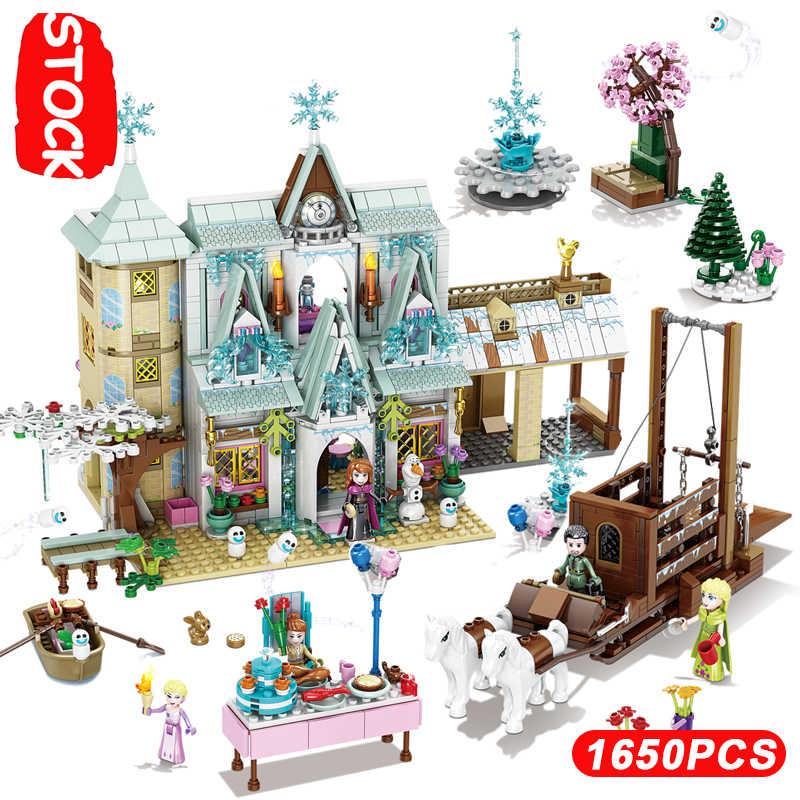2020 Meisjes Serie Elsa Magische Ijs Paleis Kasteel Carriage Feestdagen Lepinblock Legoinglys 41148 Vrienden Speelgoed Geschenken Frozeninglys 2