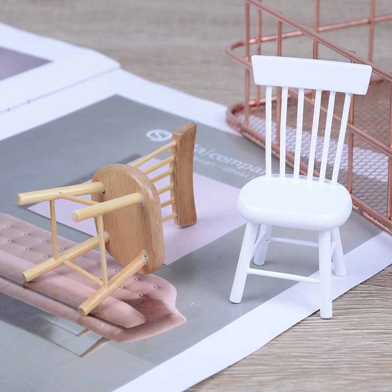 1/12 Dollhouse Miniature Dining Furniture Wooden Chair High Chair Exquisite Collection For Dolls Play House 1.7 X 1.4 X 3.1 Inch