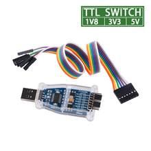 Ftdi usb para 1.8v 3.3v 5v ttl uart switch serial adaptador módulo suporte win7/8/10/android/mac os