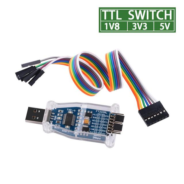 FTDI USB to 1.8V 3.3V 5V TTL UART Switch Serial Adapter Module Support Win7/8/10/Android/Mac os