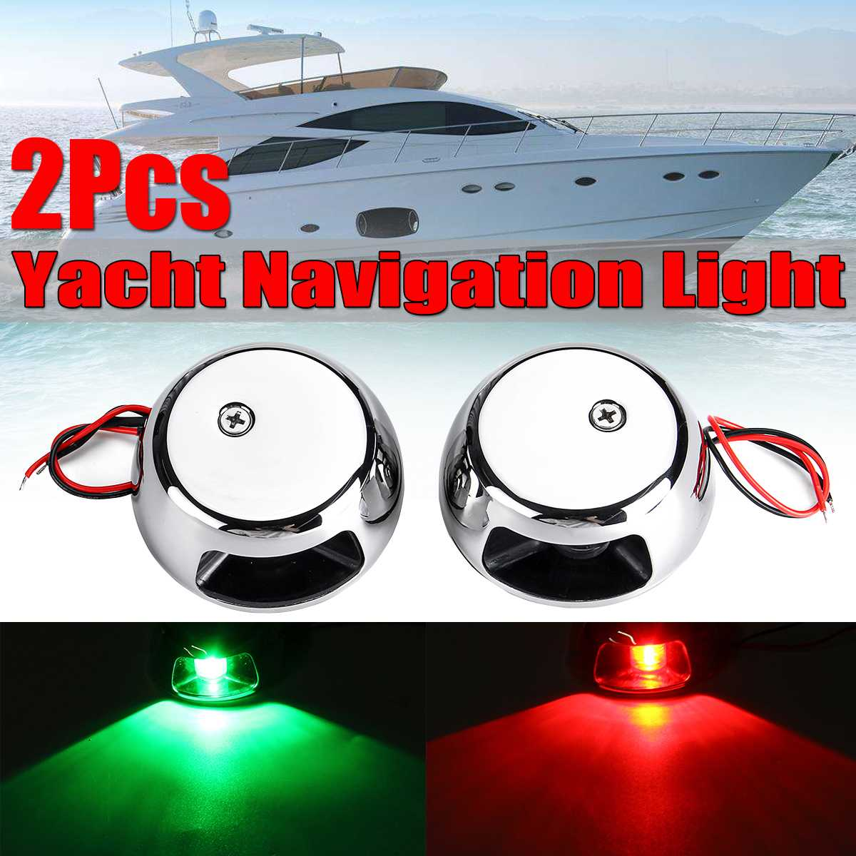 2pcs 12V LED Light LED Navigation Light Bulb E011006 For Marine Boat Yacht Starboard Stainless Steel Red Green Light 12V Boat