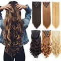Прямые накладные волосы на заколке, 16 зажимов, синтетические волосы для наращивания, волнистые накладные кусочки волос, натуральный шиньон ...