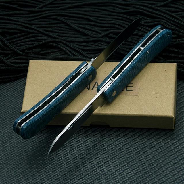 TUNAFIRE  Folding Knife Olecranon Blade +linen Fiber Handmade FruitKnife Outdoor Camping Tool 4