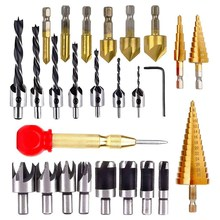 26Pcs Hout Boren Verzinkboor Boren Drie Puntige Boor Met Wrench Hout Plug Cutter, stap Boor(China)