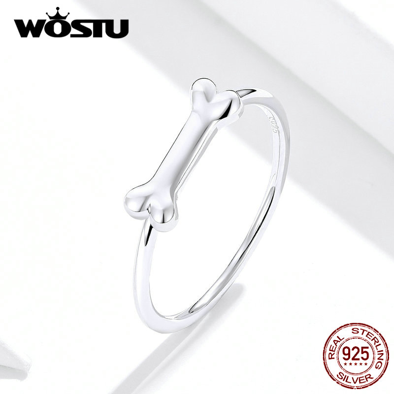 WOSTU Cute Pet Dog Bone Ring Wedding Lovely Rings Real 925 Sterling Silver Finger For Women Fashion Authentic Jewelry FIR604