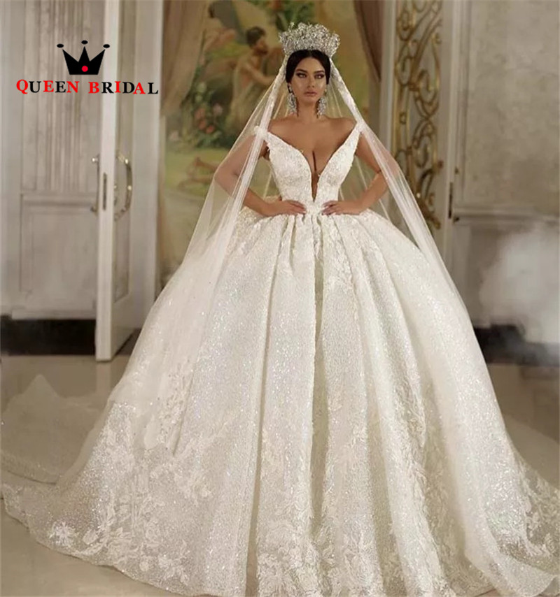 Luxury Muslim Wedding Dresses Ball Gown Puffy Tulle Lace Appliques Beaded Crystal V-neck Backless Custom Made SH23