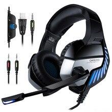 Fone de ouvido gamer k5 pro 3.5mm, 7.1 virtual hifi estéreo com graves e microfone isolante de ruído para pubg ps4 computador portátil, pc