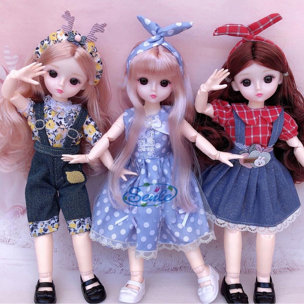 Novo 22 articulações móveis boneca bjd 31cm 1/6 maquiagem vestir bonecas bonitos com artesanal moda vestido de beleza brinquedos para meninas presente