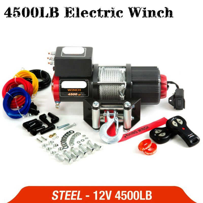 Electric Winch 12V 4500lb Remote Control Set Heavy Duty ATV Trailer High Strength Steel Electric Winch