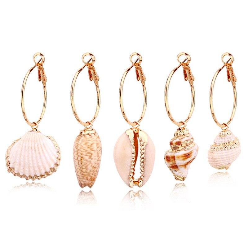 HIYONG 1 Pair Unique Classical Colorful Shell Long Drop Earrings Women Girl Jewelry European Bohemia White Conch Dangle