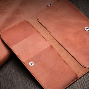 Image 5 - MYL 38W Multi function Handmade Pure Genuine Leather Wallet For iPhone 11 Pro Max 7 8 Plus Xs Max Real Cowhide Pouch Bags Case
