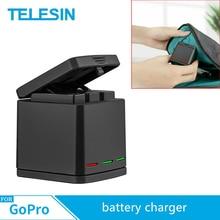 TELESIN 3 Slots Multi funktion Batterie Ladegerät Lade Fall Lade Box Für Gopro Hero 8 7 6 5 schwarz Zubehör