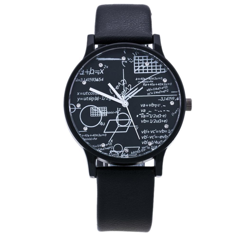 Fashion Faux Leather Band Geometric Equation Analog Quartz Couple Wrist Watch Men's And Women's Fashion Quartz Watches