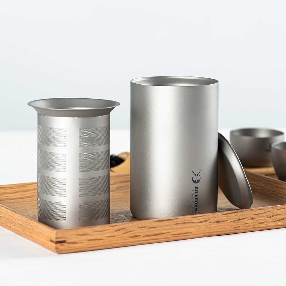 350ml Pure Titanium Double Layer Tea Maker Outdoor Camping Hiking Portable Tea Set Teapot Cup Mug with Titanium Strainer Lid