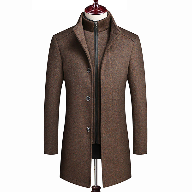 Men's Jacket Wool Trench Coat 2019 High-end Fashion Long Sections Winter Wool Coat Lining Vest Plus Size Men's Coats SA-8