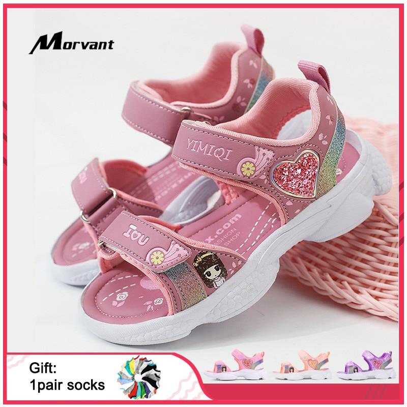 criancas sandalias macio princesa sandalias de pouco peso brilhante impressao bebe meninas sapatos confortaveis verao criancas